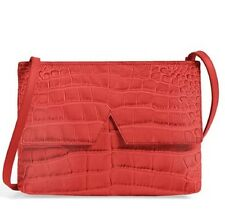 VINCE V Croc-Embossed Crossbody Bag Leather Clutch Small Cross Body in Red