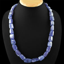 TOP AAA FACETED 512.10 CTS NATURAL RICH BLUE TANZANITE BEADS NECKLACE - GEM EDH
