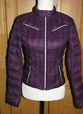 New LAUNDRY Shelli Segal Fitted Packable Down Jacket Coat Plum Purple XS X-Small