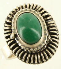 Vintage Sterling Mexico Poison Green Agate Ring MMP Adjustable Ring Size 6.5-8