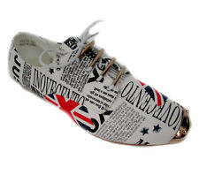 NEW London flag blue white red magazine print Moccasin Loafer flat Shoes Sz 6.5