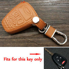 Brown Leather Remote Smart Key Holder Case Cover For Wrangler Compass Patriot