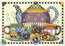 Cross Stitch Mini Kit Dimensions Debbie Mumm Tea Time Cups & Flowers #6877 SALE!