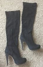 NEW Topshop Over The Knee Leather Black High Heel Shoes Boots Size 40