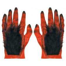 Red Hairy Latex Hands Devil Monster Halloween Fancy Dress Accessory