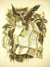 Napoléon Bonaparte carte de l' Empire par Albert Decaris gravure 52cm 1952 31/33