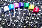 10 Large NAPPY SAFETY PINS Metal Plastic Craft Scrapbook Sewing Baby diaper 57mm