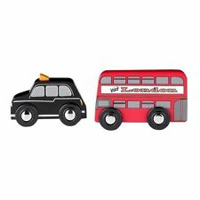 Tidlo London Double Decker Red Bus and Black Cab Wooden vehicle set