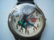 Fossil spiderman men's black leather watch.quartz,battery & water resist.Li-1037