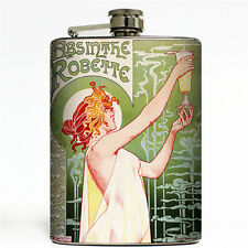 Absinthe Robette Vintage Liquor Label Flask 8oz Stainless Steel French Green