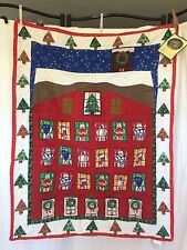 Advent Calendar quilted Christmas fabric w Pockets NWT Patchwork Windows Home v1