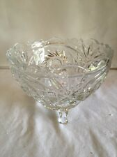 Vintage Clear Cut Glass Crystal Eight Point Star Footed Candy Dish No Lid