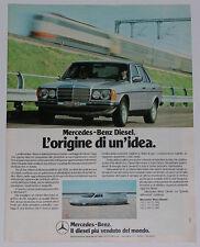 Advert Pubblicità 1980 MERCEDES DIESEL W123