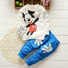 2Pcs Baby Boys Girls Mickey Mouse Coat + Pants Set Kids Casual Clothes Outfits