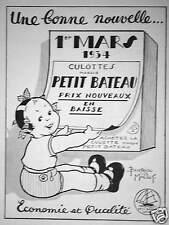 PUBLICITÉ PETIT BATEAU UNE BONNE NOUVELLE 01 MARS 1934 - BEATRICE BALLET