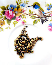 ANTIQUE BRASS Flower Rose Floral Flourish Scroll Stamping (CA-3066) `