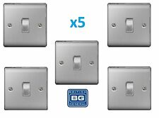 5x BG Nexus 1 Gang 2 Way Light Switch Brushed Steel Satin Chrome Insert NBS12