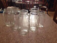 Five Old  Antique Vintage  Clear Glass Pickle Jars W/ Barrel Shape Pattern