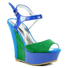 Bamboo Smooch New Blue green Ankle Strap mary jane wedge platform open toe Sz 11