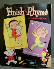 1961 WHITMAN FINISH THE RHYME UNUSED COLORING BOOK PICS BY ALYS NUGENT U.S.A.