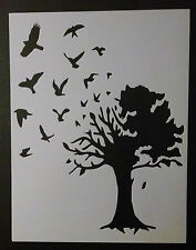 """Birds Flying Out Of Large Country Tree 8.5"""" x 11"""" Stencil FREE SHIPPING"""