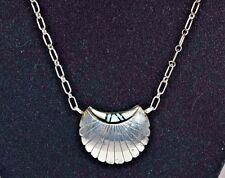 """Vintage Zuni Sterling Silver Inlay MOP, Turquoise, and Onyx Pendant Necklace 18"""""""