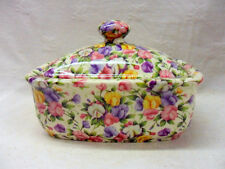 Ditsy sweet pea chintz design butterdish by Heron Cross Pottery