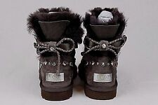 UGG AUSTRALIA MINI BAILEY BRAID SWAROVSKI CRYSTAL BROWN BLING BOOTS SIZE 8 US