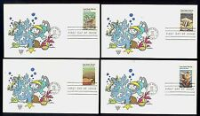 #1827-30 1980 Coral Refs FDCs Set of 4 Kover Kids Hand Colored Cachets UA FD1943