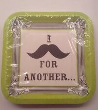 New I Love Mustaches Small Square Paper Plates 15ct Theme Party Made In USA