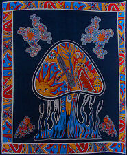 TRIPPY MAGIC MUSHROOM BLACK SOFA KING DOUBLE BED COVER BEDSPREAD THROW TAPESTRY