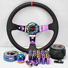 NEO CHROME STEERING WHEEL+QUICK RELEASE+SHIFT KNOB+LUG NUT FOR 01-12 HONDA CIVIC