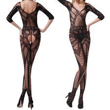 NICE Womens Fishnet Open Crotch Body Stocking Bodysuit Nightwear Lingerie Dress