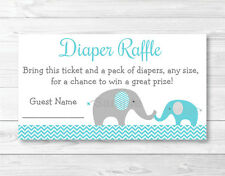 Teal Chevron Elephant Printable Baby Shower Diaper Raffle Tickets