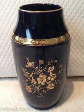"❤️LIMOGES CASTEL 22 K TRIM COBALT BLUE VASE MADE IN FRANCE FLORAL 7.5"" ANTIQUE❤️"