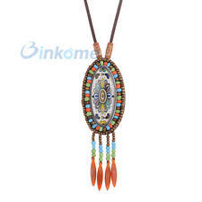 Bronze Ethnic Colorful Millet Beads Tassel Statement Rope Chain Necklace  #13