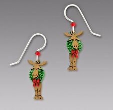 Sienna Sky 3 Part MOOSE with WREATH EARRINGS Sterling Silver Dangle Christmas