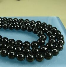 Black Onyx Beads - 8mm Smooth Round - Full Strand.