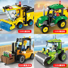 City Series:Sweeper Tractor  Heavy forklift Road  roller Fit lego no box 431pcs