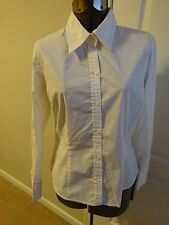 Old Navy Blouse Perfect Fit Stretch White Long Sleeve Size L 6 button cuff