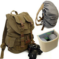 Retro Waterproof Canvas DSLR Camera Backpack Padded Travel Bag Daypack Rucksack