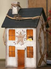 WHITEWASH WOODEN SALTBOX HOUSE ELECTRIC LIGHTED PRIMITIVE HOME DECOR