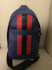 NWT Coach Mens Charles Pack in Varsity Leather F72226 $350 Indigo/Red