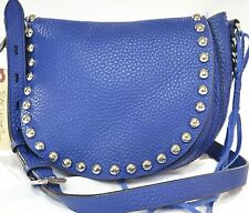 AUTH REBECCA MINKOFF BLUE STUD LEATHER UNLINED SADDLE CROSS MSRP $295.00 #919L