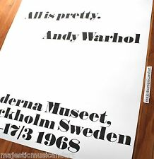 "ANDY WARHOL ""ALL IS PRETTY"" SWEDEN GALLERY POSTER MINT HUGE RARE"