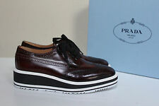 New sz 7.5 / 37.5 PRADA Brown Leather Wing Tip Lace up Oxford Platform Flat Shoe