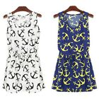 New Summer Womens Dress Vintage Nautical Anchor Evening Party Print Dresses