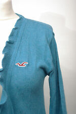 P295/13 Hollister Turquoise Emerald Cotton Mix Long Frill Cardigan, size L