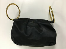 KATE SPADE Black Top Zip Gold Tone Hardware Bracelet Clutch Evening Bag B3644