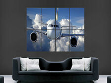 AEROPLANE SKY CLOUDS FLY ART COLOUR LARGE  BIG HUGE GIANT POSTER PRINT